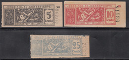 SUBSIDIO AL COMBATIENTE. Junta Provincial De Baleares, 5 Cts, 10 Cts, 25 Cts, - Vignette Della Guerra Civile