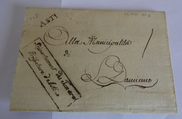 Italie Tanaro 1801  Marque ASTI  Cachet Rectangulaire DEPARTEMENT DU TANARO  PREFECTURE D'ASTI  Municipalité San Damiano - 1. ...-1850 Prefilatelia