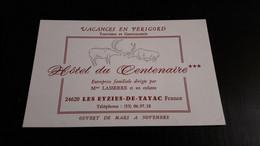 Carte Hôtel Du Centenaire 24620 Les Eyzies De Tayac Mme Lasserre - Chiavi Elettroniche Di Alberghi