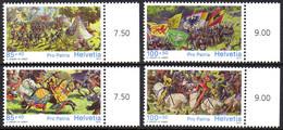 Suisse Helvetia 2085/88 Chevalerie, Cheval, Drapeau, Aigle, Moyen-âge - Storia