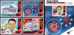 Djibouti 2020, Against Covid 19, Red Cross, Ships, Ambulance, 4val +BF - Gibuti (1977-...)