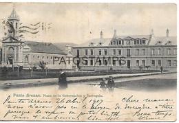 143061 CHILE PUNTA ARENAS PLAZA DE LA GOBERNACION Y PARROQUIA CIRCULATED TO ARGENTINA POSTAL POSTCARD - Chili