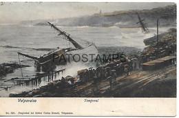 143063 CHILE VALPARAISO TEMPORAL SHIP & RAILROAD CIRCULATED TO SWEDEN POSTAL POSTCARD - Chili