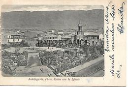143064 CHILE ANTOFAGASTA PLAZA COLON CON LA IGLESIA CIRCULATED TO URUGUAY POSTAL POSTCARD - Chili