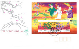 (P 2) Australia - Chistmas Island (mini-sheet) FDC Cover - Chinese New Year Of The Snake (2001) - Christmas Island