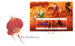 (P 2) Australia - Chistmas Island (mini-sheet) FDC Cover - Chinese New Year Of The Horse (2002) - Christmas Island