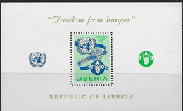 Liberia 1963 Freedom From Hunger. FAO. S/S. MNH. VF. - Liberia