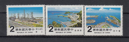 Taiwan (Rep. Of China) 1980 Large Projects. Harbors & Petrochemical Plant. 3 Val. MNH. VF. - Nuovi