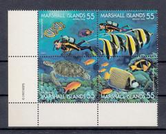 Marshall Islands 1968. Marine Life. Fish. Tortoise. Diver. Plate Block. MNH. VF. - Marshallinseln