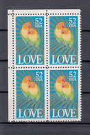 USA 1991 Love Birds. Block Of 4. MNH. VF. - Unused Stamps