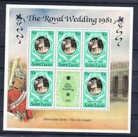 Saint Lucia 1981 Royal Wedding. MS Of 5 Plus Label. MNH. VF. - St.Lucia (1979-...)