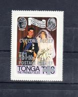"""Tonga 1982 Ovpt """"Cyclone Relief"""" On Royal Wedding 1981. 1 Val. MNH. VF. - Tonga (1970-...)"""