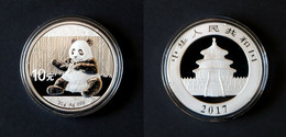China 2017 Silver Panda Coin. 10 Yuan In Capsule. 30 G. Ag. 999. - China