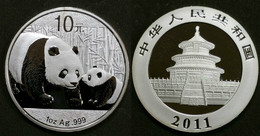China 2011 Silver Panda Coin. 10 Yuan In Capsule. 30 G. Ag. 999. - China
