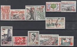 """Cameroon 1961-1962 Ovpt """"REPUBLIQUE FEDERALE"""" And Surch. In Sterling. Set Of 12. MLH. VF. - Cameroon (1960-...)"""