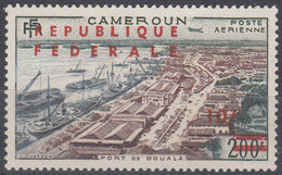 """Cameroon 1961 Douala Port. 200F Stamp From 1955 Overprinted """"REPUBLIQUE FEDERALE"""" And """"10/"""" In Red. 1 Val. MLH. VF. - Cameroon (1960-...)"""