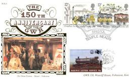 (P 4) Benham GWR 10 - FDC Cover - Great Britain - 150th Anniversary Of The GWR (12p X 2 + Train Cinderella) +  Insert - Treni