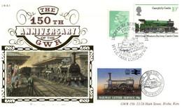 (P 4) Benham GWR 5 - FDC Cover - Great Britain - 150th Anniversary Of The GWR (10p & 6p + Train Cinderella) + Insert - Treni