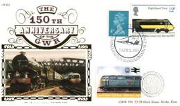 (P 4) Benham GWR 6 - FDC Cover - Great Britain - 150th Anniversary Of The GWR (12p & 4p + Train Cinderella) + Insert - Treni