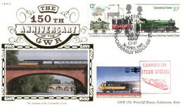 (P 4) Benham GWR 15 - FDC Cover - Great Britain - 150th Anniversary Of The GWR (12p & 10p + Train Cinderella) + Insert - Treni