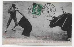 CORRIDA EN 1912 - SUERTE DE MATAR - PETIT ACCROC EN BAS A DROITE - BEAU CACHET - CPA  VOYAGEE - 75 - Corrida
