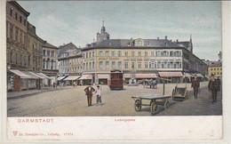 Darmstadt - Ludwigsplatz - Um 1905 Strassenbahn, Werbung, .. Altersspuren - Darmstadt