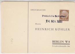 SUDETENLAND - Köhlerkarten Von Poststelle SCHLETTEN + LOBENSTEIN - Occupation 1938-45