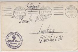 Feldpost Aus NÜRNBERG 12.6.15 Aus Vereinslazarett ARNDT-HAUS - Storia Postale