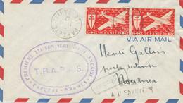 PREMIERE LIAISON AERIENNE PAPEETE ILE DE TAHITI 1947 LETTRE AVION => NOUMEA FRAPAS F.R.A.P.A.S. - Tahiti
