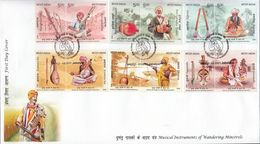 INDIA 2020 FDC MUSICAL INSTRUMENTS Of Wandering Minstrels, Music, Culture. Rural Musicians,1st Day Cover Jabalpur Cancel - FDC