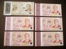 2015 SINGAPORE SG50 Polymer Commemorative Banknote $10 X 5 Plus 1 X $50 UNC Complete Set Without Folder - Singapore