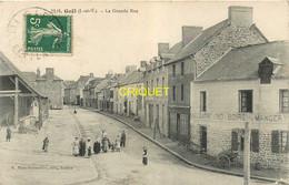 35 Gaël, La Grande Rue, Habitants Au 1er Plan..., Affranchie 1908 - Other Municipalities