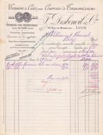 FACTURE - TANNERIE DE CUIRS POUR COURROIES DE TRANSMISSIONS - MARQUE CHENE -F. DESBENOIT RUE DE MARSEILLE LYON - Frankreich