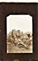 CARTE PHOTO ALLEMANDE - ARTILLEURS ALLEMAND ET CANON DU 14 Res. AK  - GUERRE 1914 1918 - War 1914-18