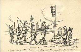 Militaria Patriotique Poulbot N°27 -Vous Les Ignobles Otages ,vous Voulez Marcher Devant Notre Armée  Recto Verso - Patrióticos