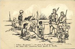 Militaria Patriotique Poulbot N°28 -Alors Les Gosses !...on Joue à La Guerre - On Peut Plus Personne  Ne Veut Faire Le B - Patrióticos