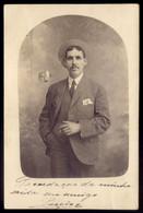 Postal Fotografico Particular: Homem A Fumar C/chapeu De Palha. Vintage Real Poto Postcard PORTUGAL - Unclassified