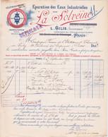 FACTURE - LA SOLVEÏNE -EPURATION DES EAUX INDUSTRIELLES - 1910 - Frankreich