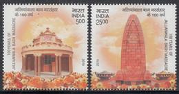INDIA 2019 100 Years Jallianwala Bagh R Massacre Amritsar,  Set 2v Complete. MNH(**) - Nuevos