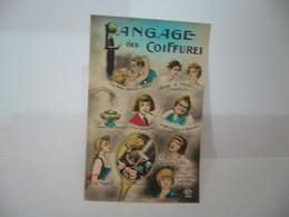 LANGAGE DES COIFFURES VERSION COULEUR BLEU CIEL CPA EDITIONS LEO PARIS FABRICATION FRANCAISE - Artesanal