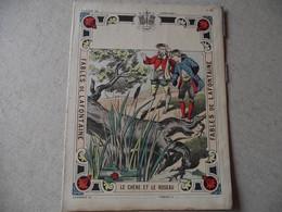 Protège Cahier, Fin XIX,  FABLE De La Fontaine, Le CHENE ET LE ROSEAU - Protège-cahiers