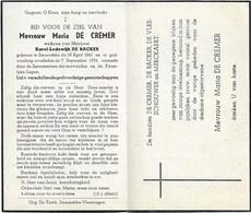 Doodsprentje  *  De Cremer Maria (° Smeerebbe 1861  / +  1954) X De Backer Karel - Religion & Esotérisme