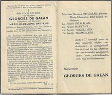 Doodsprentje  *  De Galan Georges  (° Geeraardsbergen  1900  / +  1945) X Baeyens Marie-Madeleine - Religion & Esotérisme
