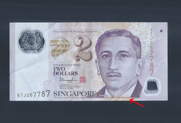 Singapore $2 Portrait Series Aligned Cutting Error Banknote 6TJ267787 (#171) - Singapore