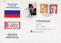 """Eingedruckter R-Zettel,  5657 Haan, Rhl 1, Nr. 140  Ub """" Xy """", Jürgen Neumuth - [7] Federal Republic"""