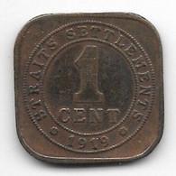 *straits Settlements 1 Cent 1919  Km32  Fr+ - Malaysia