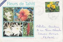Polynésie Yvert 677 Purau Fleurs De Sel Mahina 6/1/2003 Lettre Illustrée Recto Verso à Autun Saône Et Loire - Frans-Polynesië