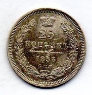 RUSSIA, 25 Kopeks, Silver, Year 1853-CΠB-HI , KM #166.1 - Rusland