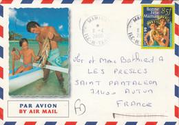 Polynésie Yvert 586 Enfants Bonne Fête Maman Mahina 11/4/2000 Lettre Illustrée Recto Verso à Autun Saône Et Loire - Frans-Polynesië