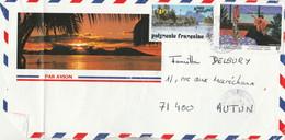 Polynésie Yvert 399 + 445 Tableau Sur Devant De Lettre Illustrée  à Autun Saône Et Loire - Frans-Polynesië